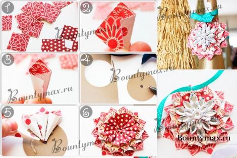 Простые новогодние украшения из бумаги своими руками