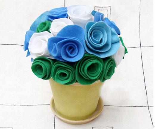Цветок из ткани в горшке своими руками как сделать