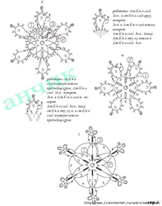 Вязать снежинку крючком описание