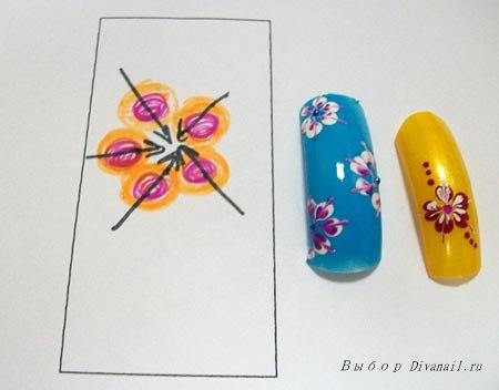 Схема рисунков на ногтях в домашних условиях