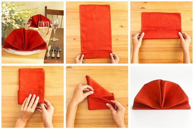 Красиво свернуть салфетки на стол пошаговое фото