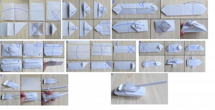 Смотреть как сделать из бумаги танк бесплатно