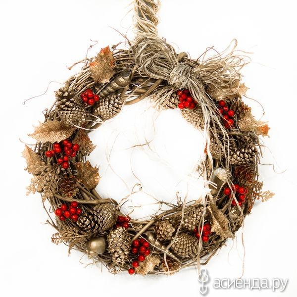 Сделать рождественский венок своими руками из шишек