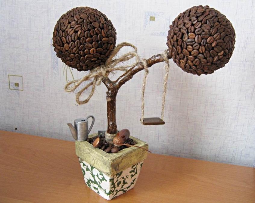 Деревья счастья из кофейных зерен своими руками